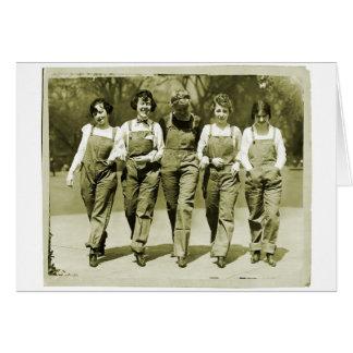 ヴィンテージのレトロの女性の低俗なジーンズのオーバーオールの女の子 カード