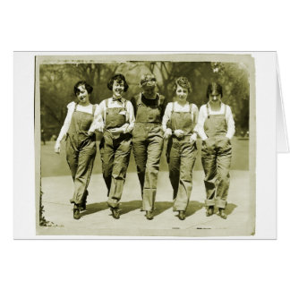 ヴィンテージのレトロの女性の低俗なジーンズのオーバーオールの女の子 グリーティングカード