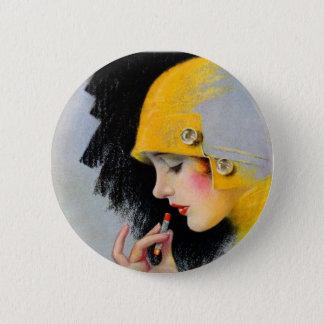 ヴィンテージのレトロの女性20sハリウッドの口紅の女の子 5.7cm 丸型バッジ