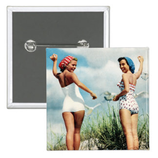 ヴィンテージのレトロの女性60sのサーフィンのビーチの女の子 5.1cm 正方形バッジ