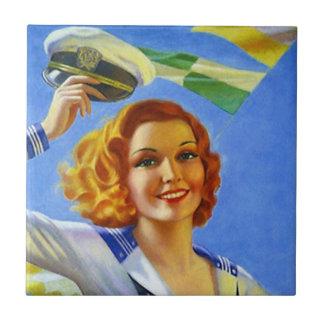 ヴィンテージのレトロの幸せな船員の女の子の女性女性をタイルを張って下さい タイル