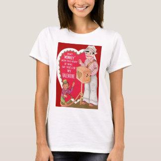 ヴィンテージのレトロの手回しオルガン奏者のバレンタインカード Tシャツ