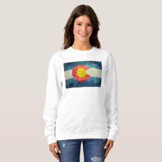 ヴィンテージのレトロの汚い一見を用いるコロラド州の州の旗 スウェットシャツ