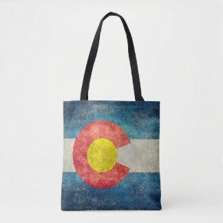 ヴィンテージのレトロの汚い一見を用いるコロラド州の州の旗 トートバッグ