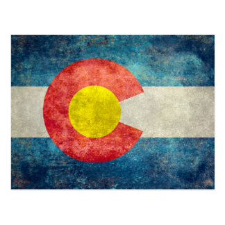 ヴィンテージのレトロの汚い一見を用いるコロラド州の州の旗 ポストカード