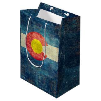 ヴィンテージのレトロの汚い一見を用いるコロラド州の州の旗 ミディアムペーパーバッグ