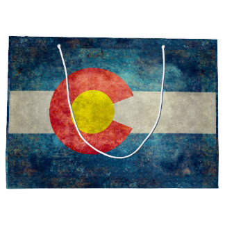 ヴィンテージのレトロの汚い一見を用いるコロラド州の州の旗 ラージペーパーバッグ
