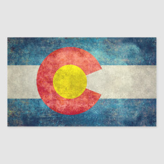 ヴィンテージのレトロの汚い一見を用いるコロラド州の州の旗 長方形シール