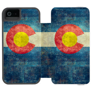 ヴィンテージのレトロの汚い一見を用いるコロラド州の州の旗 iPhone SE/5/5sウォレットケース