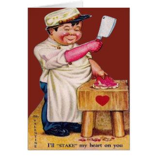ヴィンテージのレトロの肉屋のバレンタインカード カード