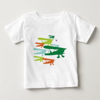 ヴィンテージのレトロの複葉機の孤独なすずめの飛行機Desi ベビーTシャツ