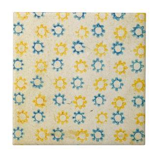 ヴィンテージのレトロの青及び黄色の日曜日のステンシル質 タイル