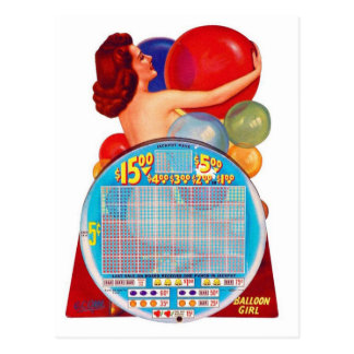 ヴィンテージのレトロの駄作50s Punchboardの賭博ゲーム ポストカード