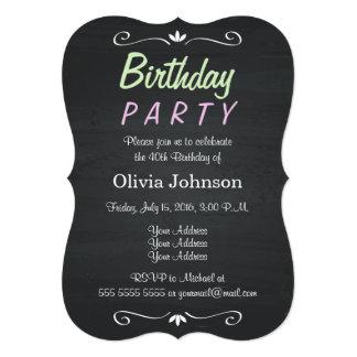 ヴィンテージのレトロの黒板の誕生日のパーティの招待状 カード