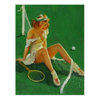 ヴィンテージのレトロのGil Elvgrenのテニスのピンナップの女の子 ポストカード