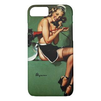 ヴィンテージのレトロのGil Elvgrenのフランスのな女中のピンナップの女の子 iPhone 8/7ケース