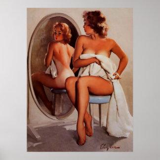 ヴィンテージのレトロのGil Elvgren日焼けのピンナップの女の子 ポスター
