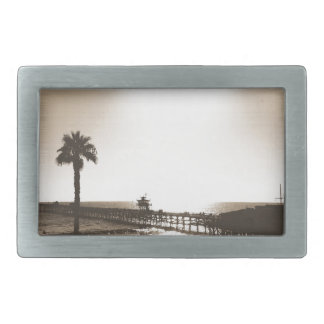 ヴィンテージのレトロのSan Clemente桟橋カリフォルニアセピア色 長方形ベルトバックル