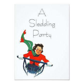 ヴィンテージのレトロのSledding冬のパーティの招待状 カード