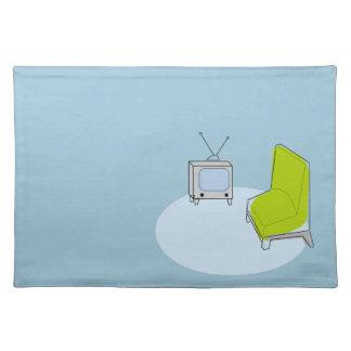 ヴィンテージのレトロのTV及び椅子のデザイン ランチョンマット