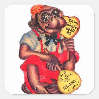 ヴィンテージのレトロは親愛な私のバレンタインしますチンパンジーをです スクエアシール
