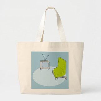 ヴィンテージのレトロTV及び椅子のデザインのバッグ ラージトートバッグ