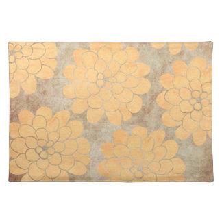 ヴィンテージのレモン色のダリアの花の結婚式 ランチョンマット