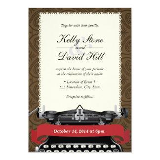 ヴィンテージのレースのタイプライターのダマスク織の結婚式招待状 カード