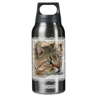 ヴィンテージのレースのボーダーを持つ虎猫猫 断熱ウォーターボトル