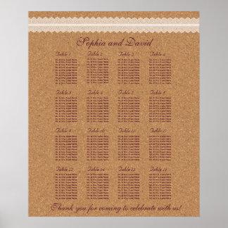 ヴィンテージのレースのワインのコルクの結婚式の座席の図表16 ポスター