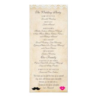ヴィンテージのレースの唇及びStacheの結婚式プログラム 10.2 X 23.5 インビテーションカード