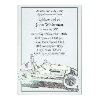 ヴィンテージのレースカーの誕生日の招待 カード