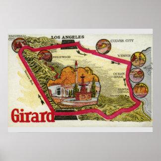 ヴィンテージのロサンゼルスの地図 ポスター
