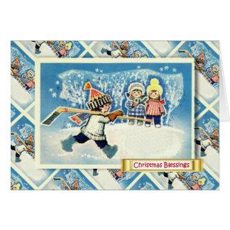 ヴィンテージのロシアのなクリスマス、アイスホッケープレーヤー カード