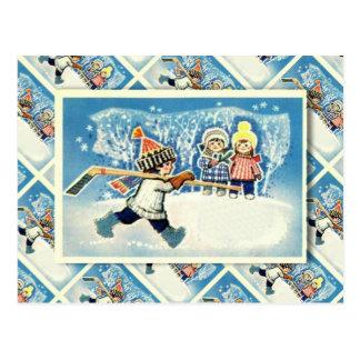 ヴィンテージのロシアのなクリスマス、アイスホッケープレーヤー ポストカード