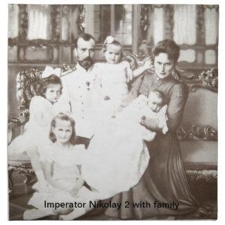 """ヴィンテージのロシアのな写真""""Imperator Nikolay 2"""" ナプキンクロス"""