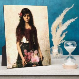 ヴィンテージのロシアのな芸術の花の販売人の女性ポートレート フォトプラーク