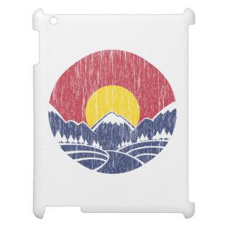 ヴィンテージのロッキー山脈の日没のロゴ iPad カバー