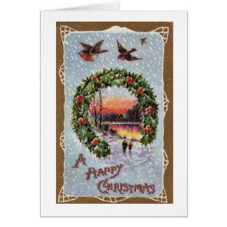 ヴィンテージのロビンとのロマンチックなクリスマス場面 グリーティングカード