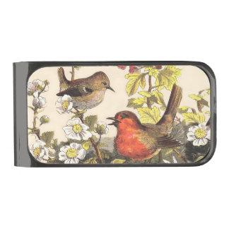 ヴィンテージのロビン春の鳥 ガンメタル マネークリップ