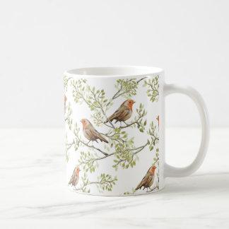 ヴィンテージのロビンReadbreastの芸術パターン コーヒーマグカップ