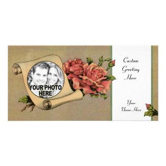 ヴィンテージのロマンチックなばら色及びスクロールフレーム-老化させた花柄 カード