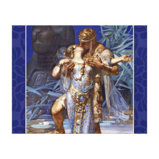 ヴィンテージのロマンチックなカップルアンソニーおよびCleopatraのキス キャンバスプリント