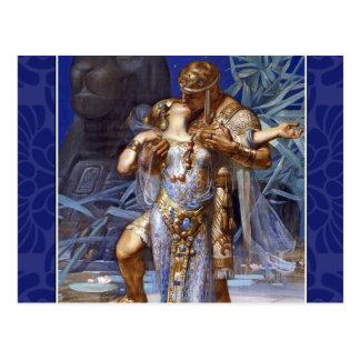 ヴィンテージのロマンチックなカップルアンソニーおよびCleopatraのキス ポストカード