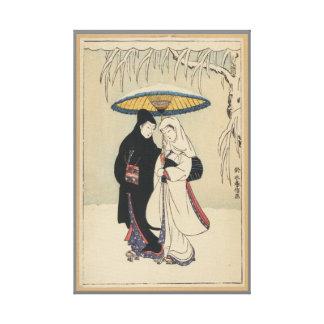 ヴィンテージのロマンチックな傘の日本のなカップルのキャンバス キャンバスプリント