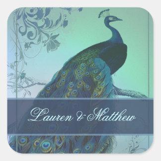 ヴィンテージのロマンチックな孔雀のデザイン スクエアシール