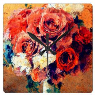 ヴィンテージのロマンチックな花柄のばら色の花束の絵画 スクエア壁時計