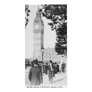 ヴィンテージのロンドンの通り場面、ビッグベンの時計台 カード