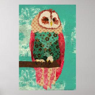 ヴィンテージのローザのフクロウのターコイズの芸術ポスター ポスター