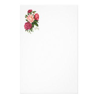 ヴィンテージのローズピンクのシャクヤクによってはモノグラムが開花します 便箋